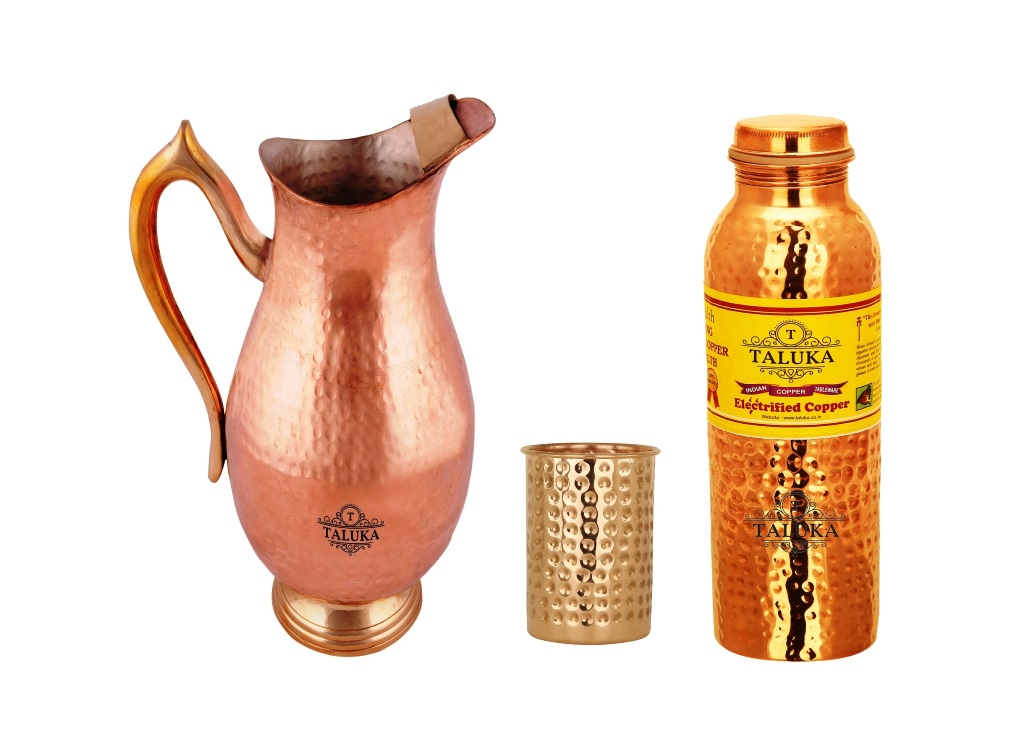 Handmade 2000 Ml Copper Drinking Water Jug With 1 PC Hammer Glass & 1 PC Leak Proof Bottle 1000 ML