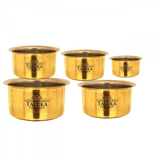 Handmade Brass Nickel Plated Tope Topia / Patila Bhaguna Cooking Set