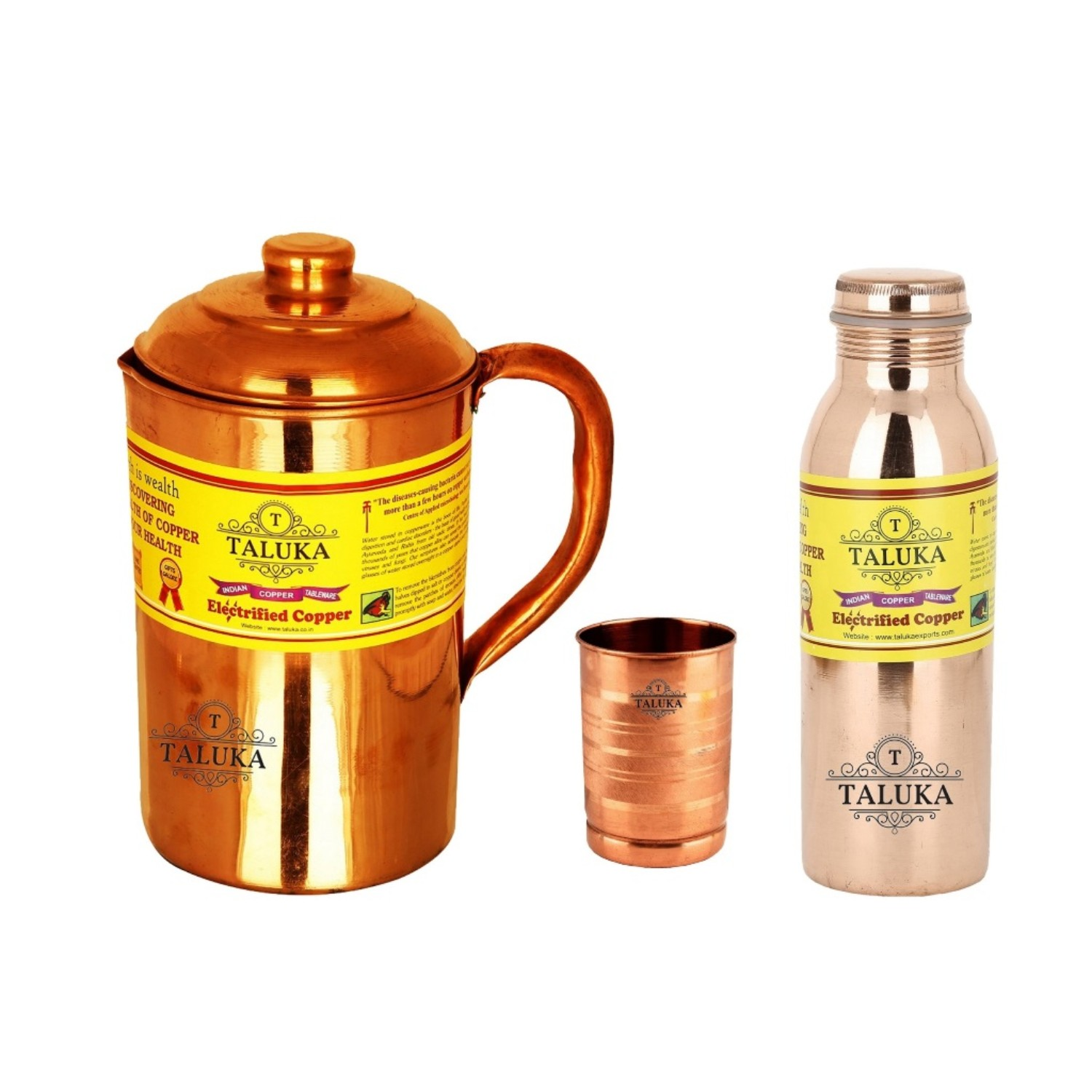 Handmade Copper Jug Pitcher 1500 Ml With 1 PC Copper Glass & 1 PC Leak Proof Joint Free Water Bottle