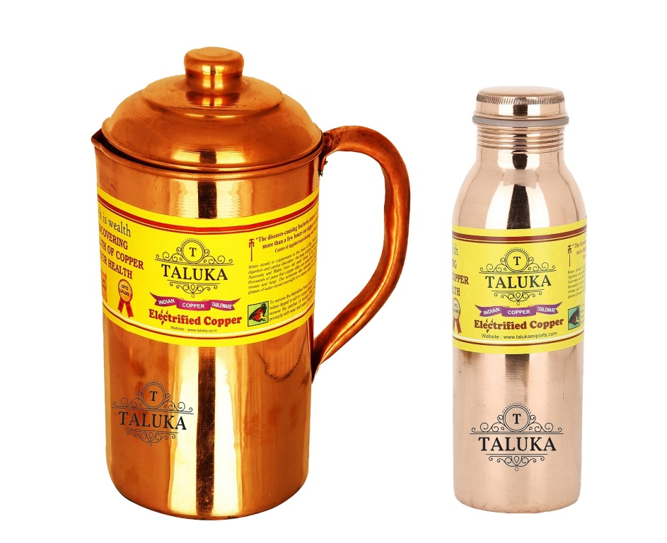 Handmade Copper Jug Pitcher 1500 ml with 1 PC Leak Proof Joint Free 1000 ML Water Bottle Storage Drinkware Home Hotel Tableware