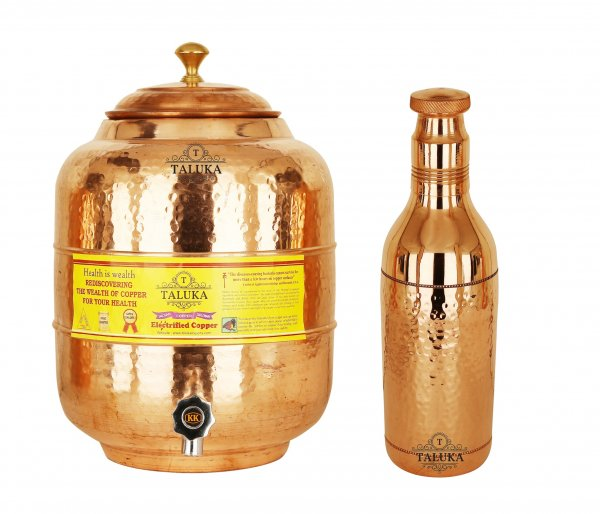 Handmade Copper Water Pot Tank 10 Liter 1 Hammer Water Bottle 1.7 Liter Storage