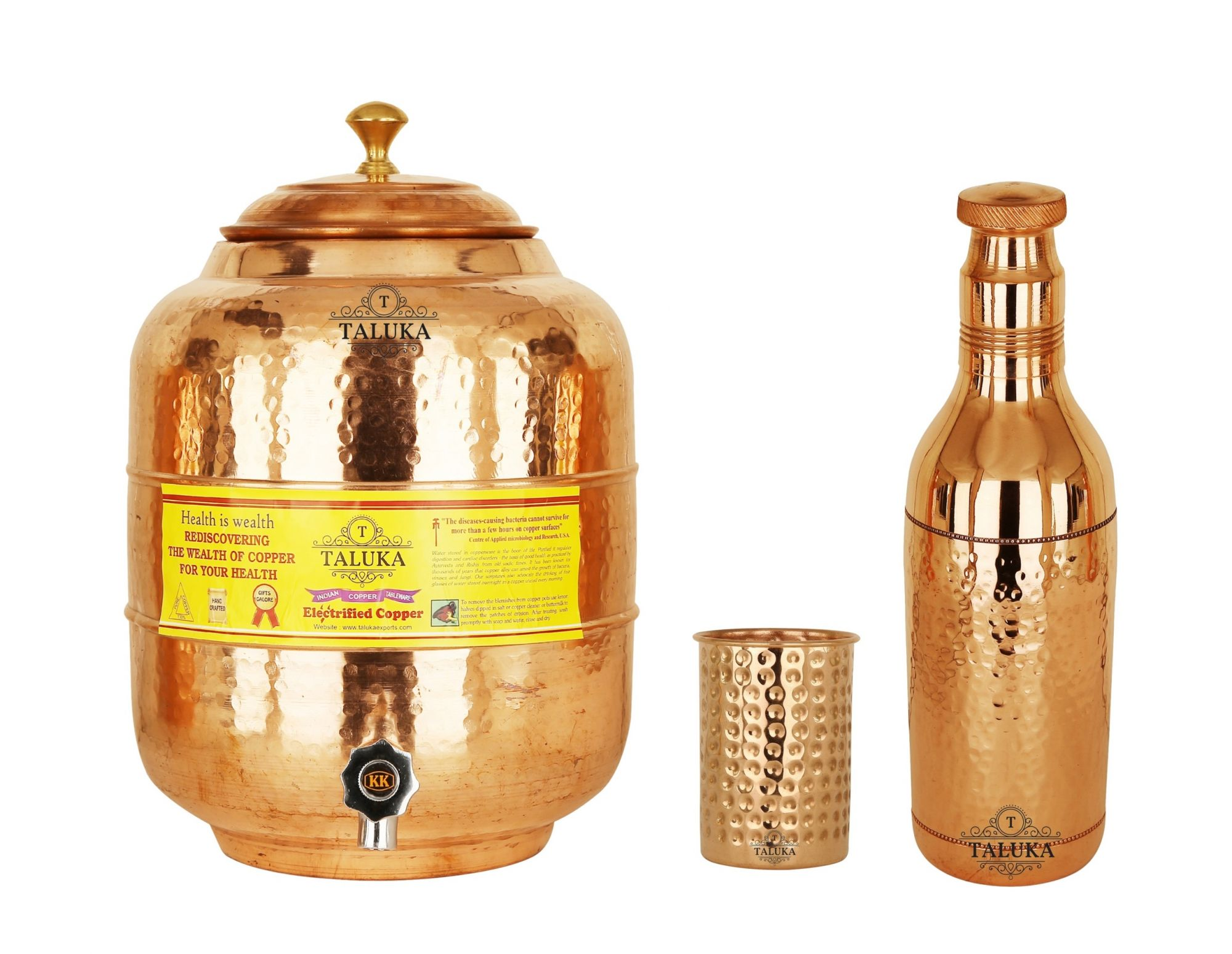 Handmade Copper Water Pot Tank 10 Liter Hammer Bottle 1.7 Liter 1 Glass 350 ML