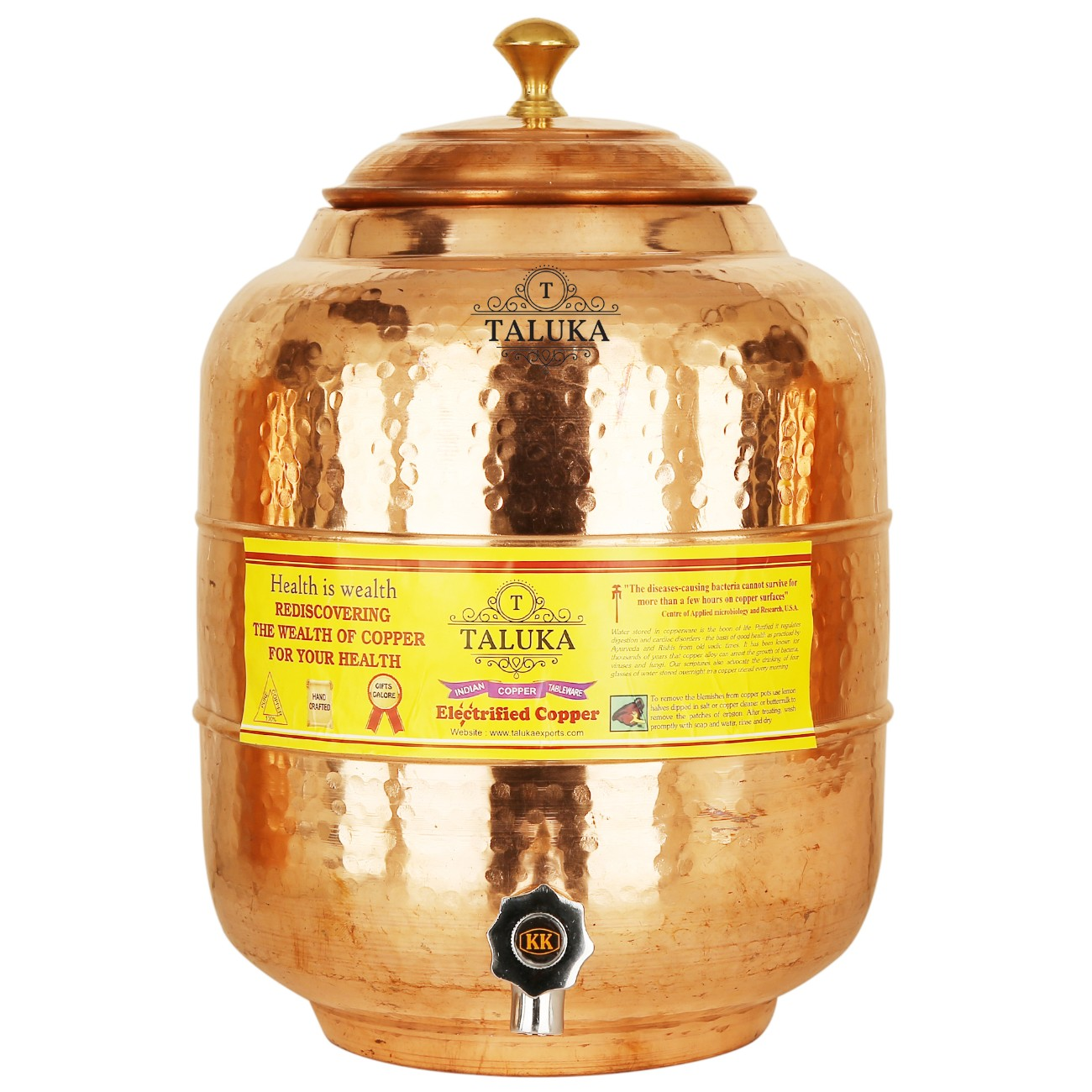 Handmade Copper Water Pot Tank 5 Liter Hammer Bottle 1.7 Liter 1 Glass 350 ML