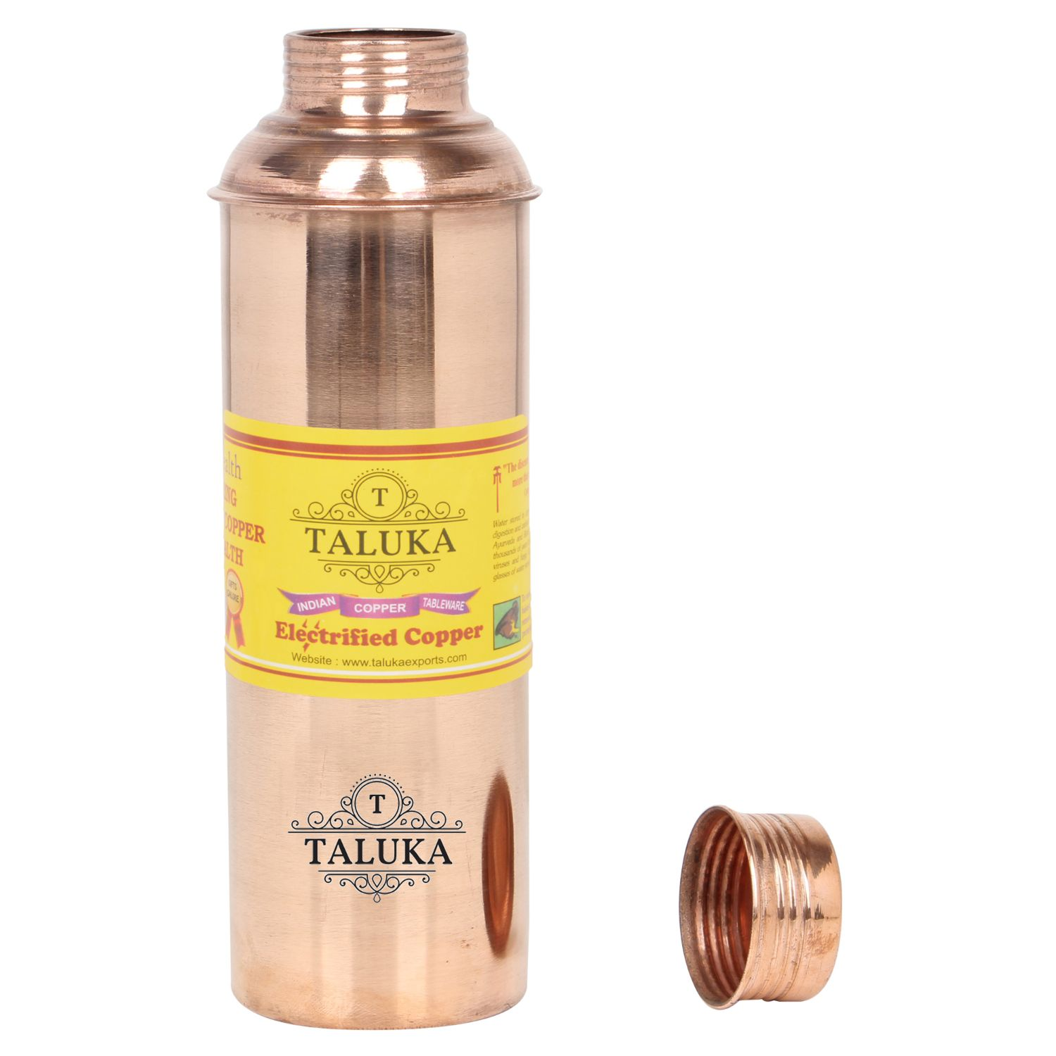 Handmade Pure Copper Bisleri And Etching Design Water Bottle 800 ML Set Of 12 Drink Ware Storage Bottle For Good Health