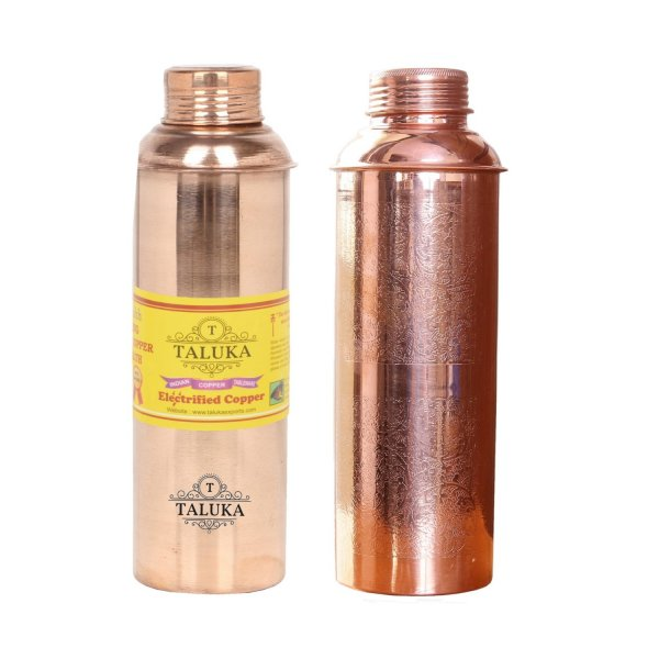 Handmade Pure Copper Bisleri And Etching Design Water Bottle 800 ML Set Of 2 Drink Ware Storage Bottle For Good Health