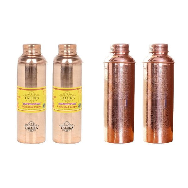 Handmade Pure Copper Bisleri And Etching Design Water Bottle 800 ML Set Of 4 Drink Ware Storage Bottle For Good Health