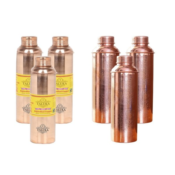 Handmade Pure Copper Bisleri And Etching Design Water Bottle 800 ML Set Of 6 Drink Ware Storage Bottle For Good Health