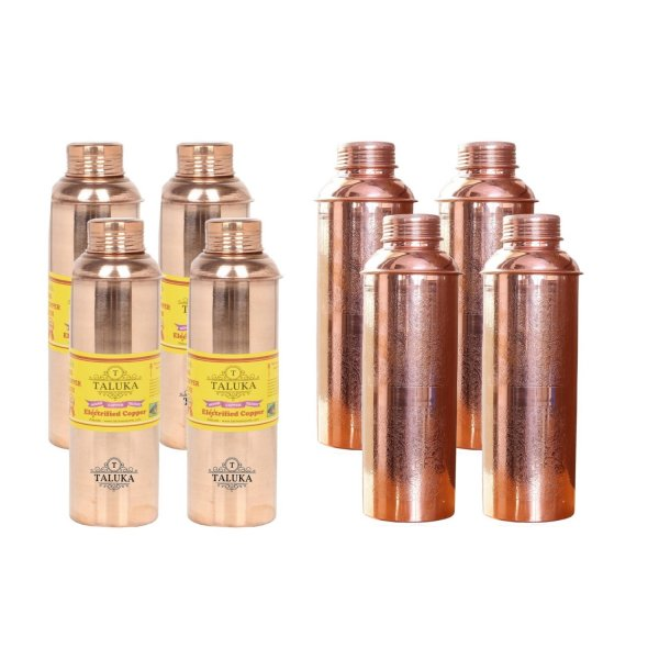 Handmade Pure Copper Bisleri And Etching Design Water Bottle 800 ML Set Of 8 Drink Ware Storage Bottle For Good Health