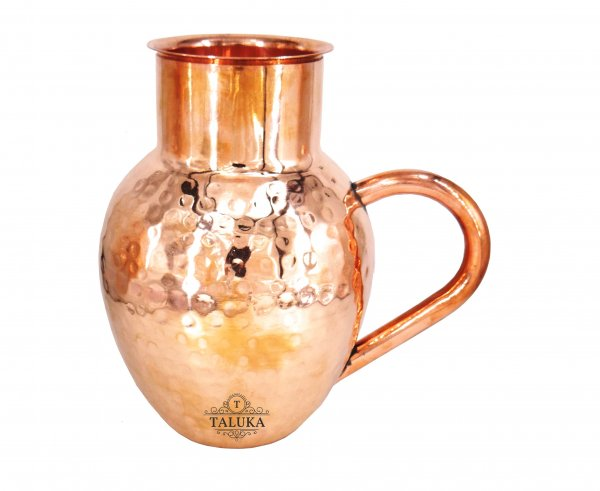 Handmade Pure Copper Hammered Jug Water Pitcher Drinking  Capacity: 1500 ML