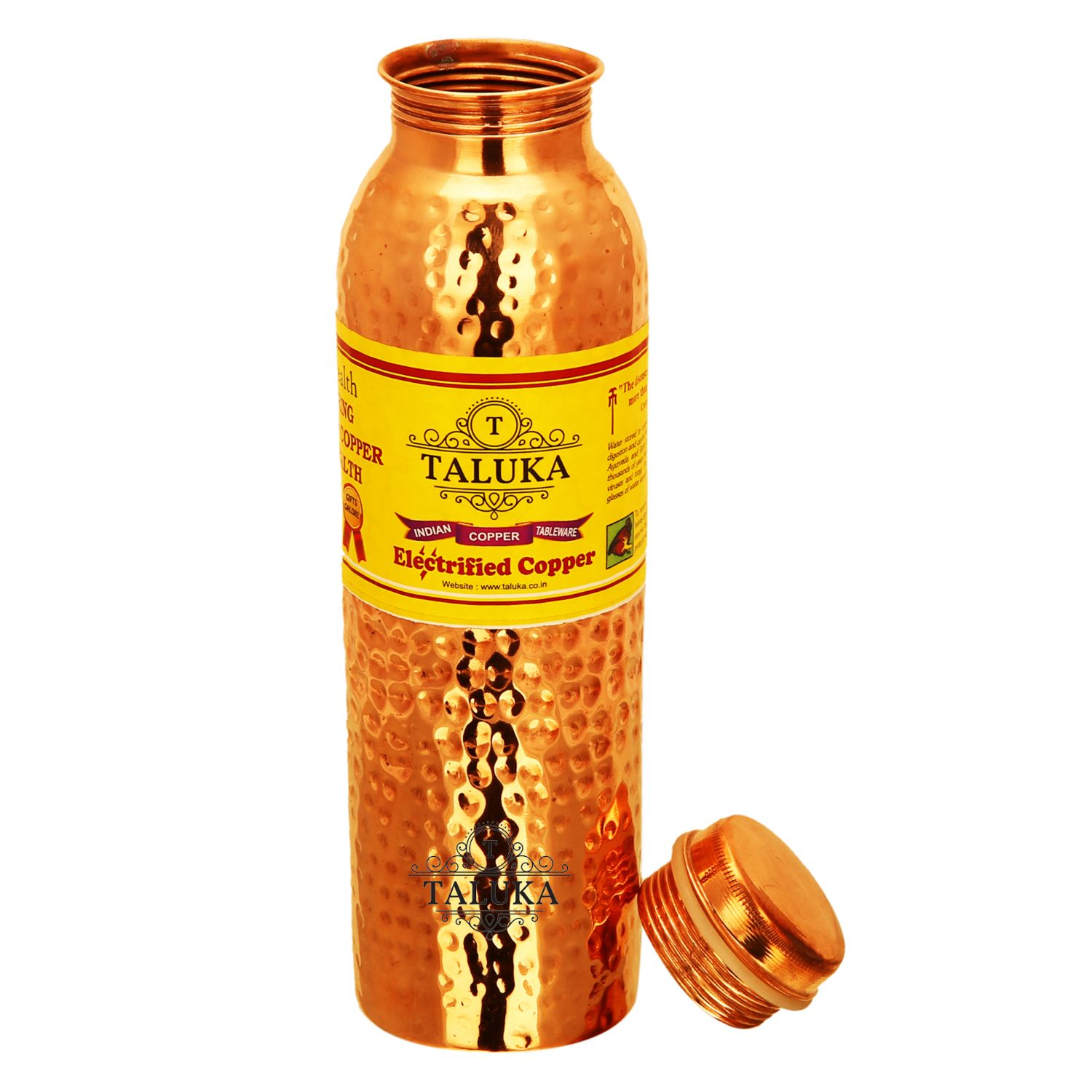 Handmade Pure Copper Joint Free Leak Proof Water Bottle 1000 ML Set Of 3 Drink Ware Storage Bottle For Good Health