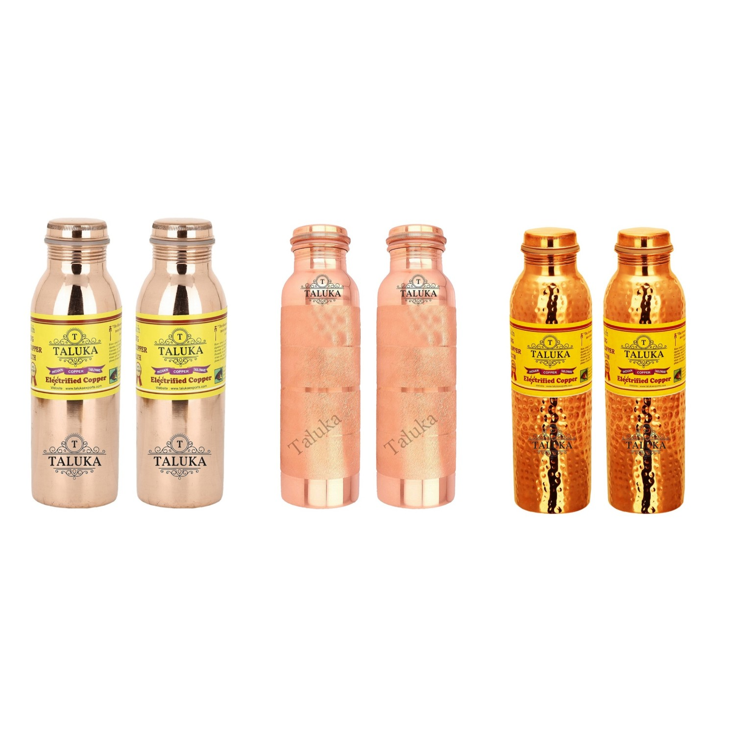 Handmade Pure Copper Joint Free Leak Proof Water Bottle 1000 ML Set Of 6 Drink Ware Storage Bottle For Good Health