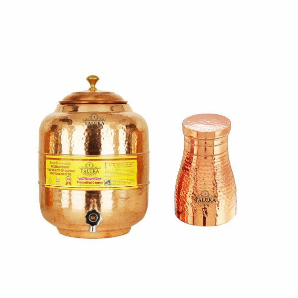 Taluka Copper Traditional  Hammer water pot 6000 ML with Bedroom Bottle 1100 ML
