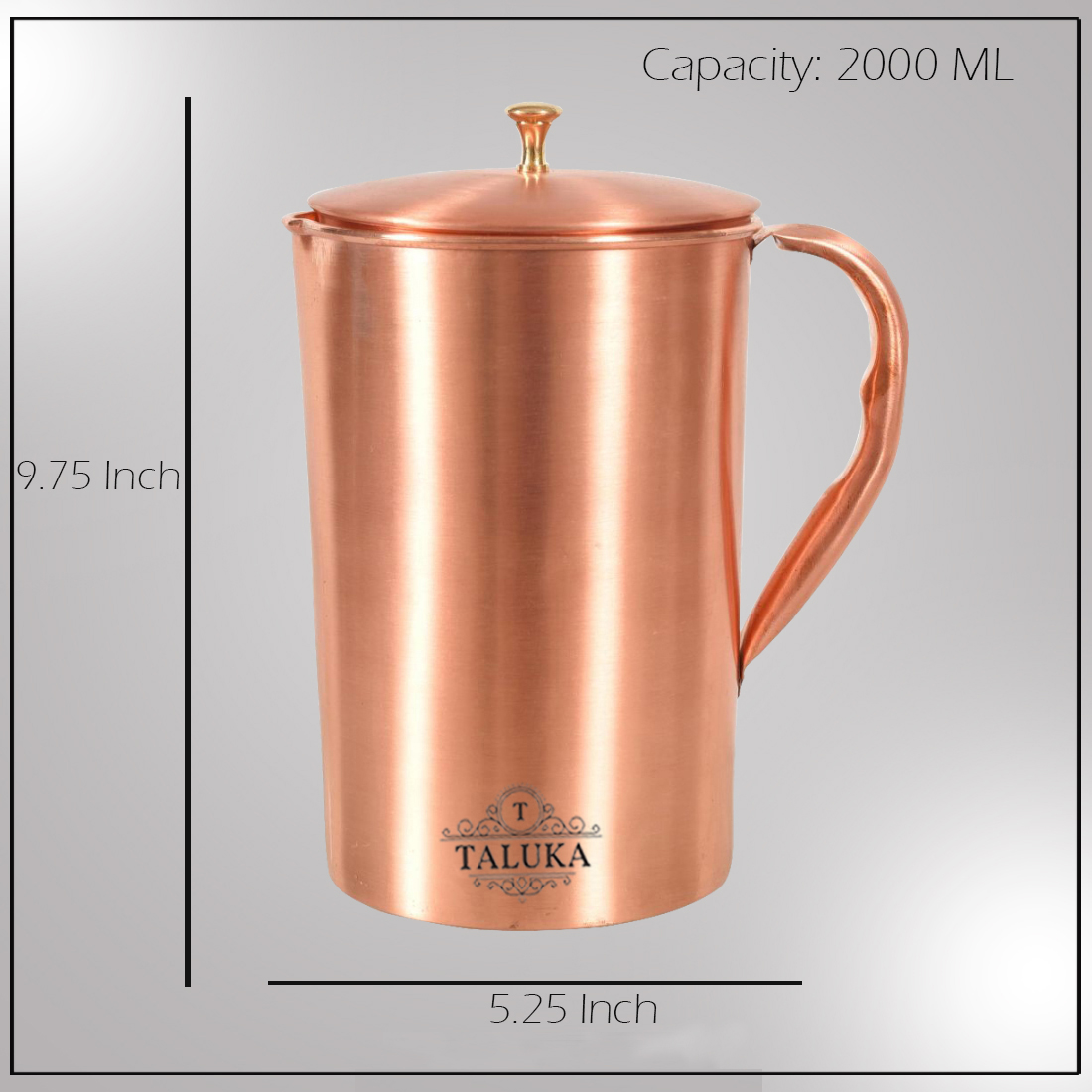 Pure Copper Matte Finish Water Jug Pitcher with Brass Knob 1500 ML Water Storage Hotel Home Restaurant (Size: Height 18 cm x Dia 11.5 cm)