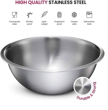 Taluka Serving Bowl Stainless Steel Round Lid Bowl/Box/Kitchen Food Storage Containers, Tiffin, Lunch Box, Stainless Steel Lid Bowl - Set of 5 Steel Mixing Bowl (Sizes- 14 cm, 18 cm, 22 cm, 26 cm, 30 cm) Pack of 5 Pcs Stainless Steel Disposable Mixin