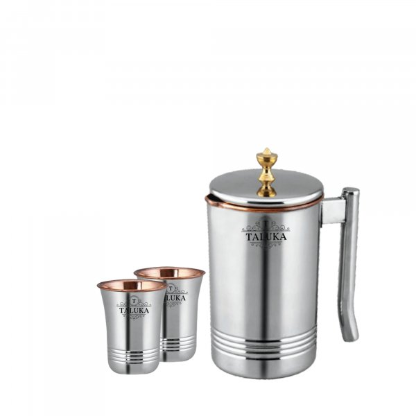 Taluka Copper Stainless Steel Jug Pitcher with Brass Knob, Storage and Serving Water Home Hotel Restaurant (1500 ML) with 2 Copper Glass