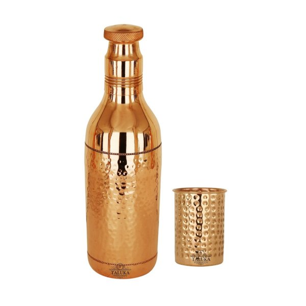 Pure Copper Hammered Water Bottle With Glass 1 PC| 1700 ML JUG, 300 ML Glass | Serving Drinking Storage Water