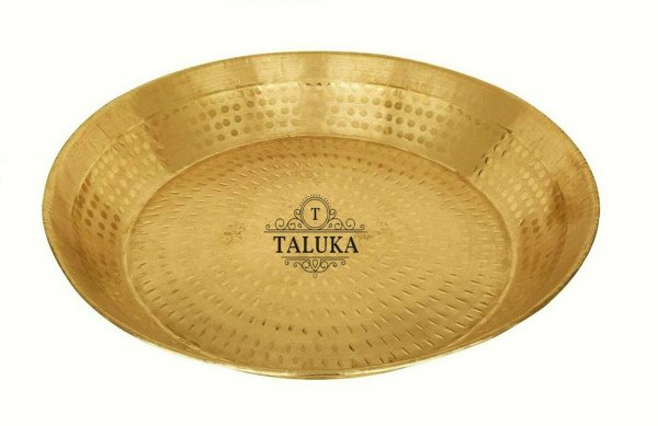 Brass Hammer Parat / Plate/ Platter Large Thali Use For Kitchen, Home in,  18X18X4 Inch size