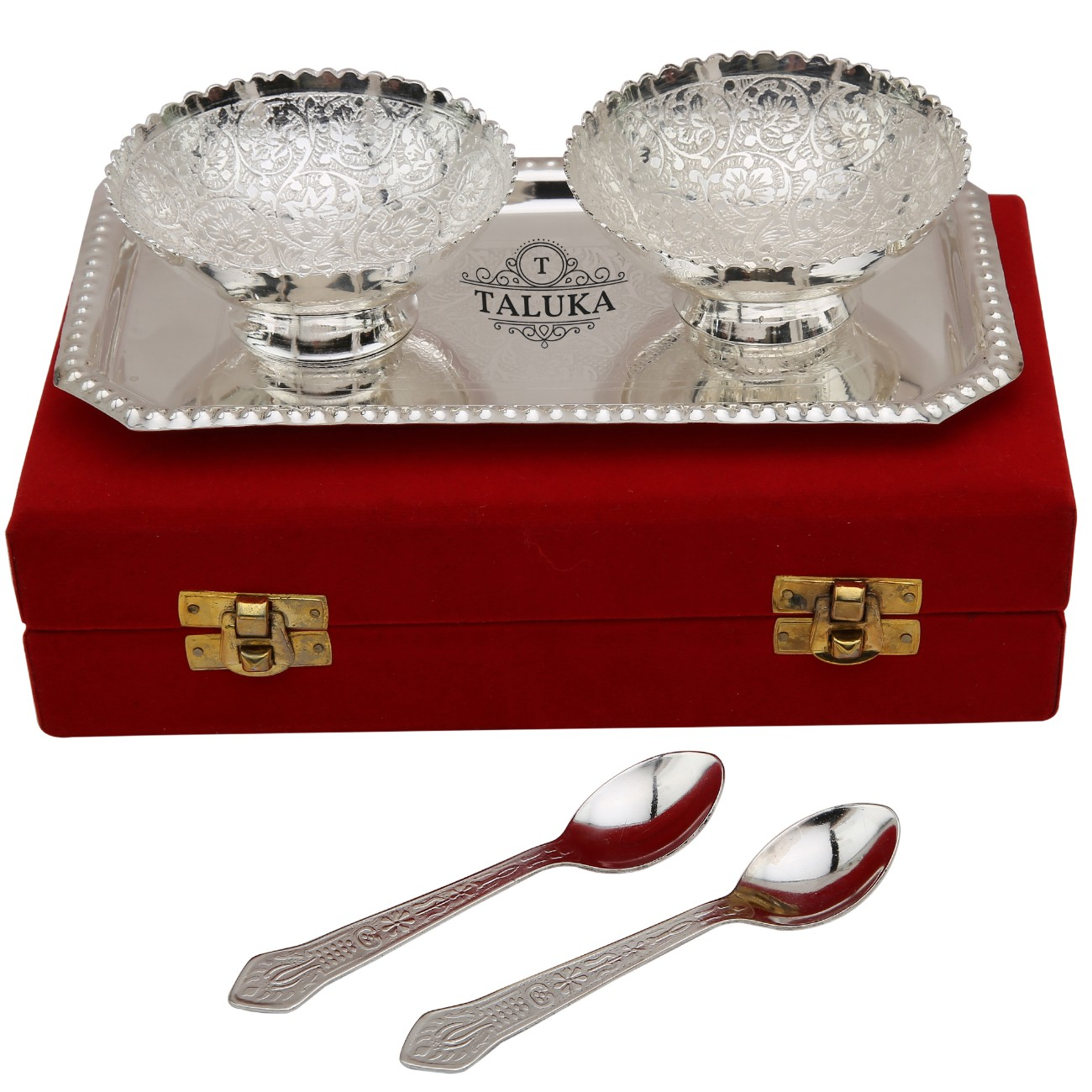 Silver Plated 2 Bowl Deep Dish 2 Spoons 1 Tray for Spoon Set Gift Item