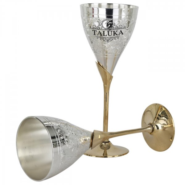 Silver Plated Glass Flute Champagne Wine Goblet Glass