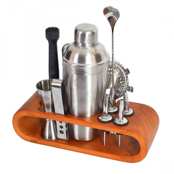 Bar Set for Drink Mixing Bar Tools: Cocktail Shaker, Jigger, Strainer, Bar Mixer Spoon, Ice Tongs, Bottle Opener, Pourer, Muddler, Joint Less Wooden Stand (Plain)