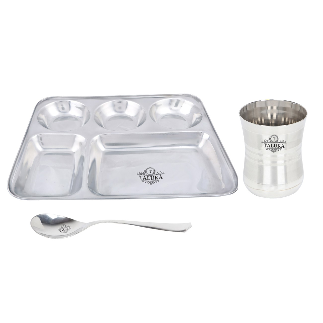 Stainless Steel 5IN1 Compartment Snacks Plate With Glass Spoon Dinner Thali Set
