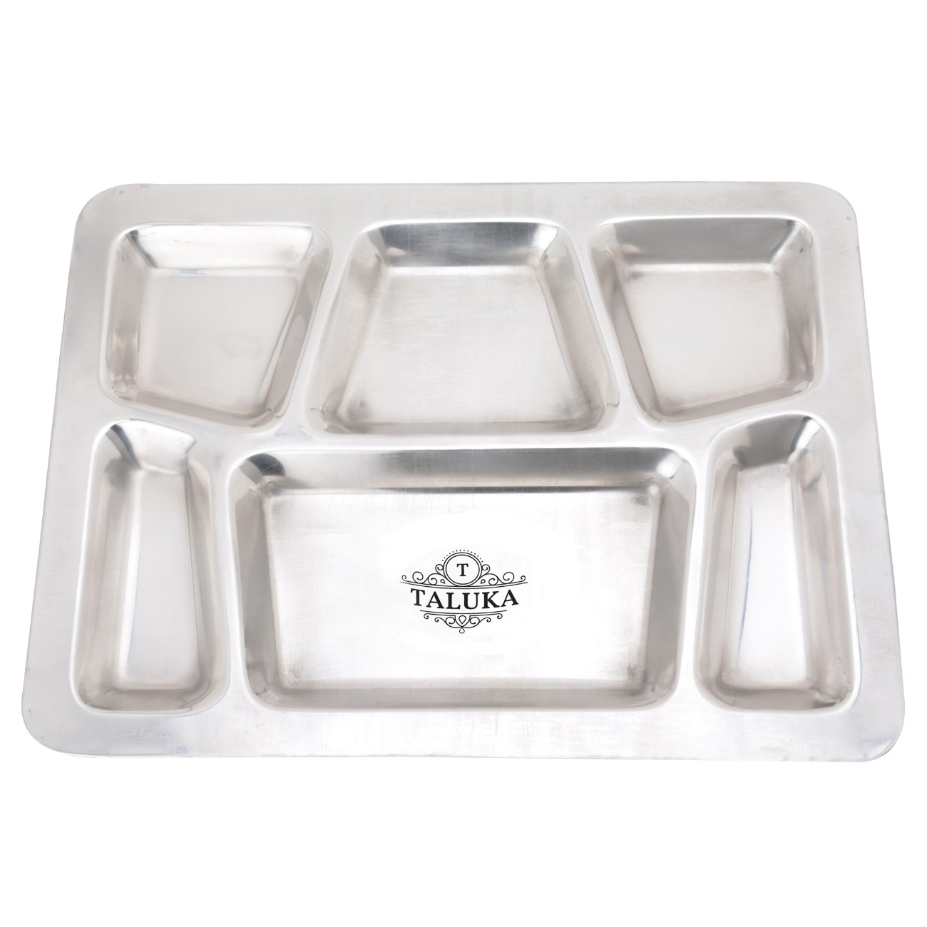 Stainless Steel 6IN1 Compartment Snacks Plate With Glass Spoon Dinner Thali Set