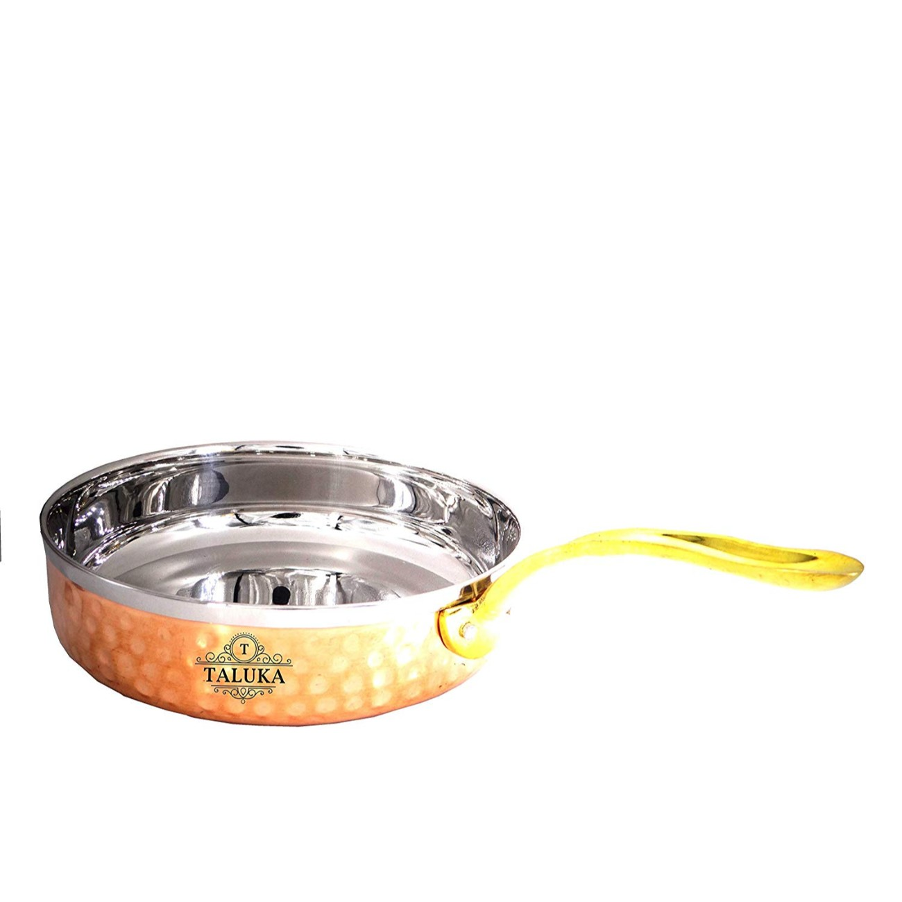 Stainless Steel Copper Fry Pan Tadka Pan Cooking Dishes Kitchen & Dining