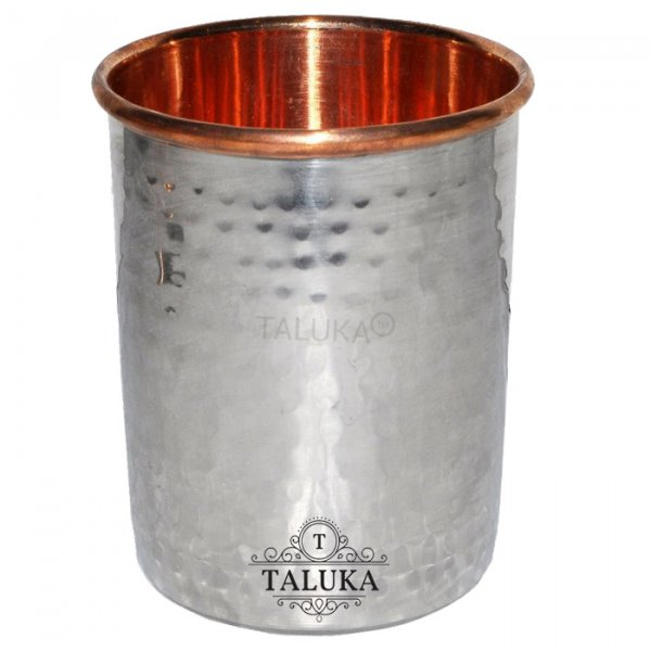 Stainless Steel Copper Hammered Glass  Round Water Glass Tumbler Drinkware