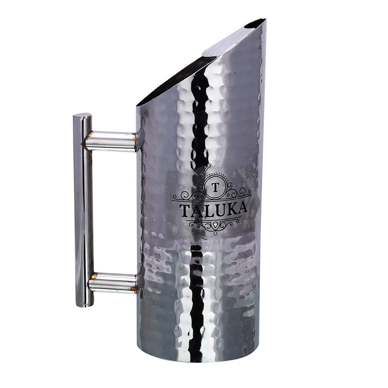 Stainless Steel Hammered Jug Pitcher With Pipe Handle For Drinking Storage 1500 ML