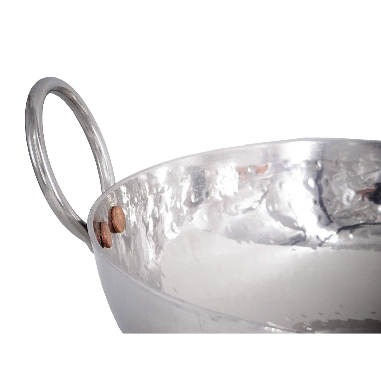 Stainless Steel Hammered Kadai Serving Kadhai Wok For Kitchen Cookware Tableware