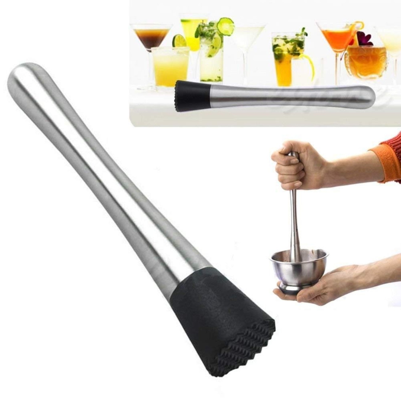 "Stainless Steel Ideal Bartender Tool Muddler & Mix The Perfect Cocktail Right at Home Using 8"" in Stainless Steel Pestle/Grooved Nylon Head"