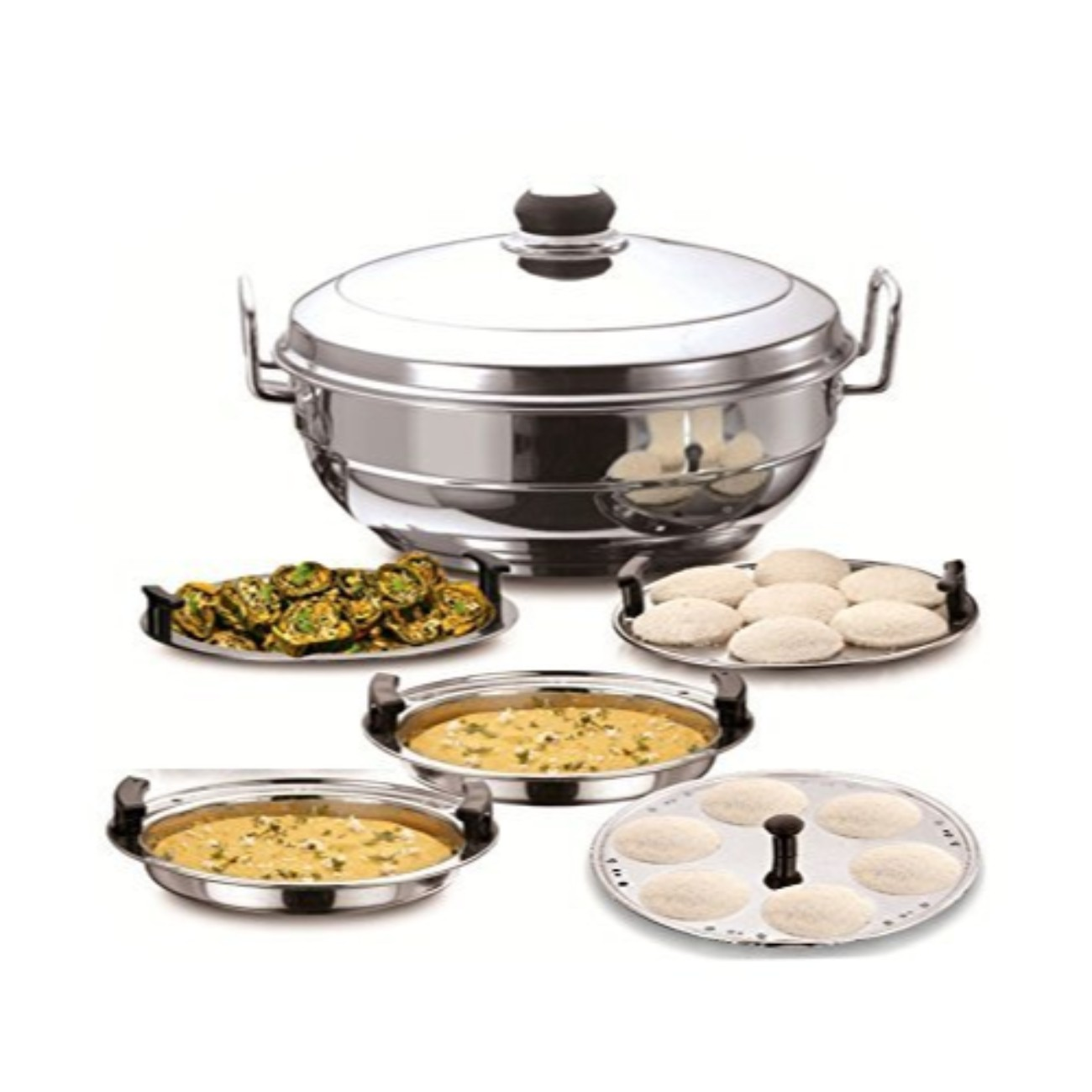 Stainless Steel Induction Kadai With Lid & Standard Idli Maker Steamer