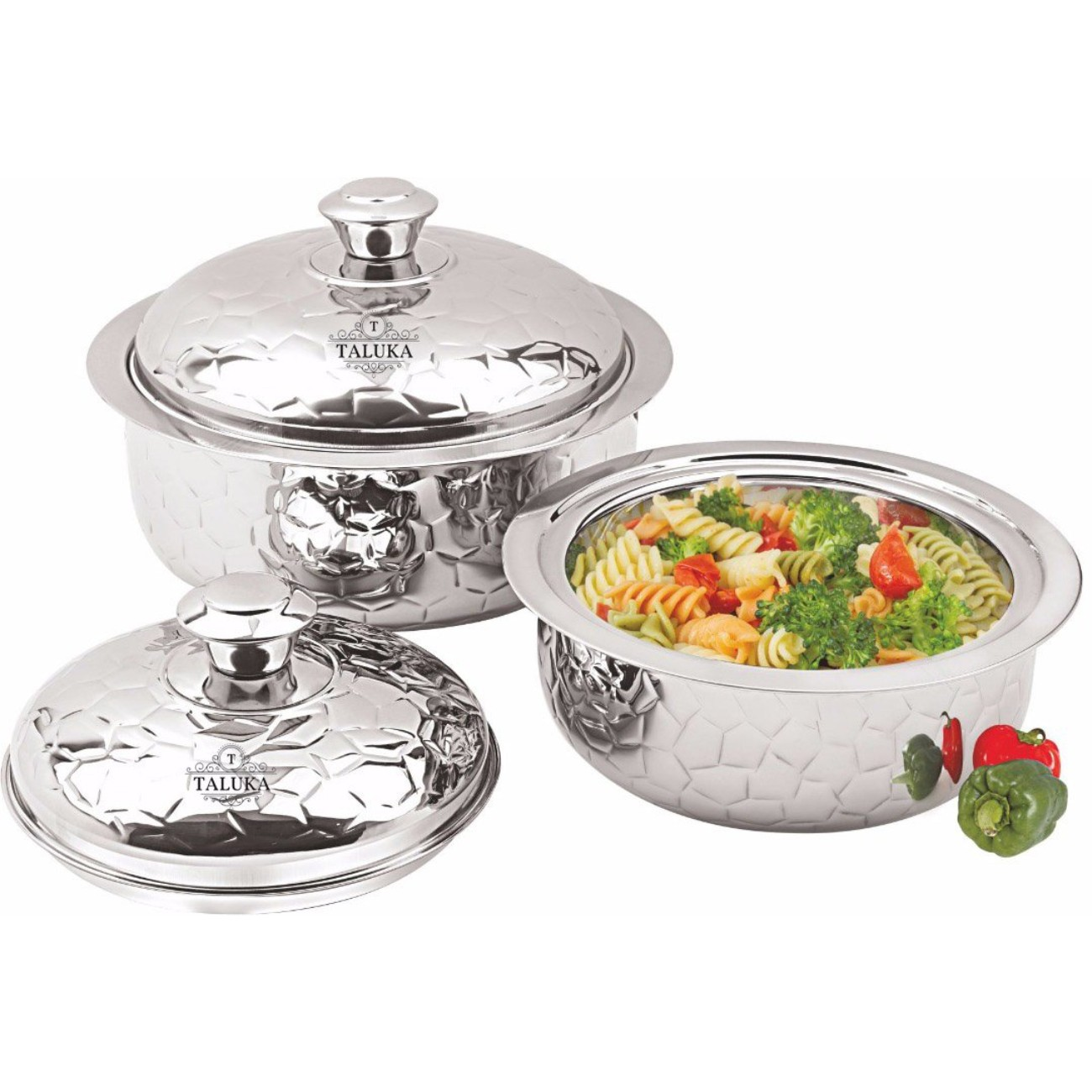 Stainless Steel Insulated Chapati Box Double Wall Hammered Serving Casserole
