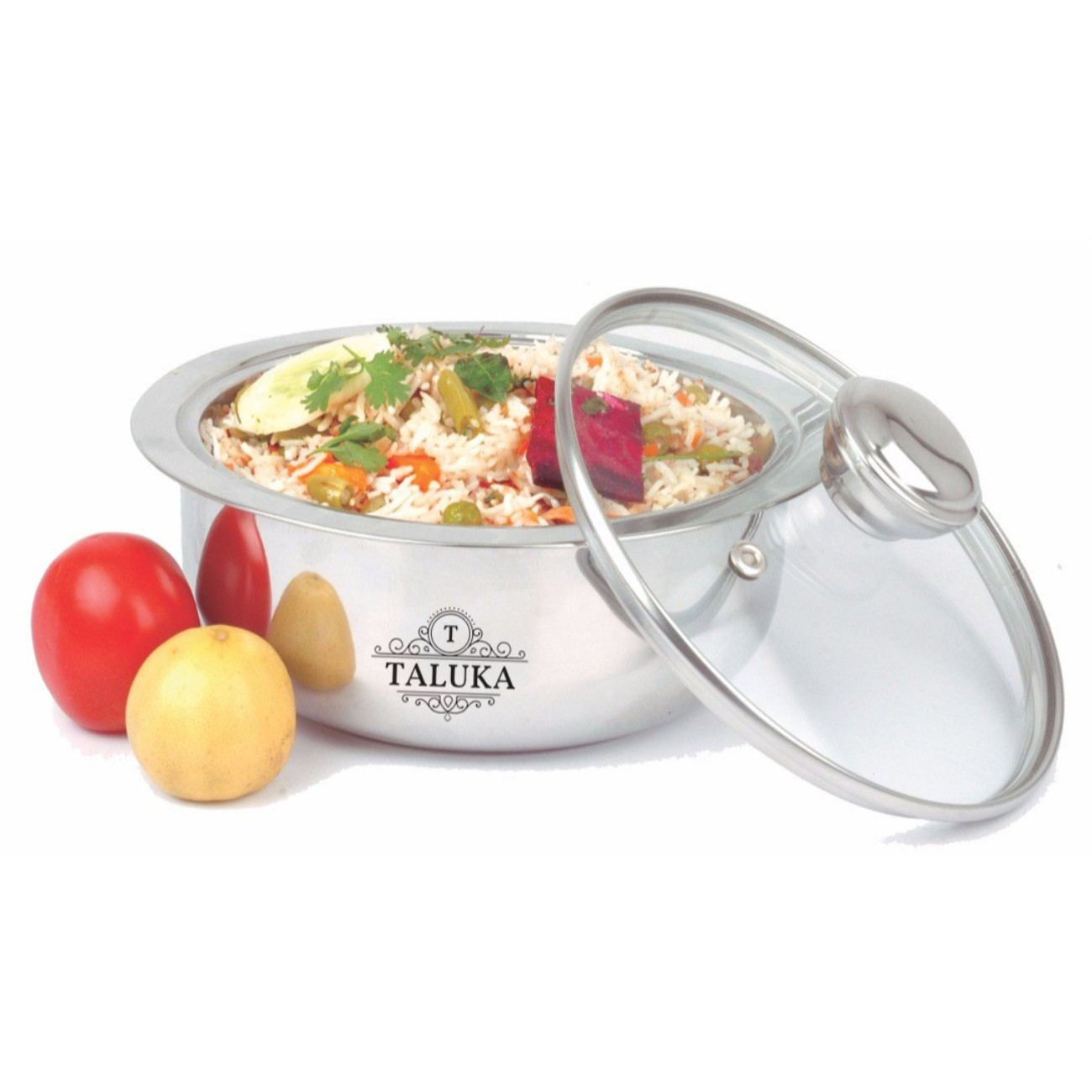 Stainless Steel Insulated Chapati Casserole Box With Glass Lid Serving Casserole