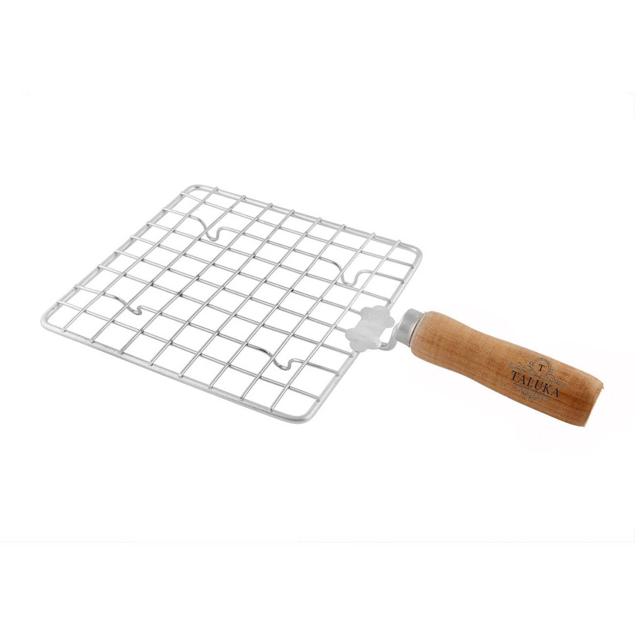Stainless Steel Made Square Papad Jali Papad Maker  Wooden Handle