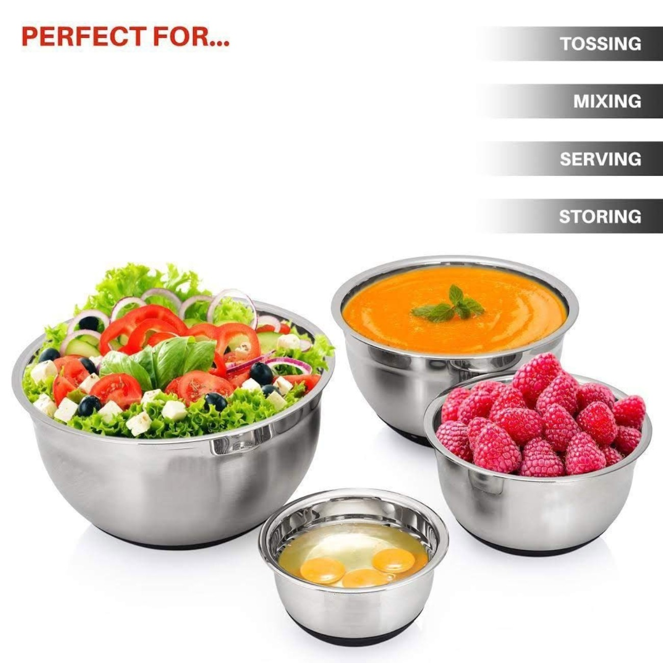 Stainless Steel Non-Slip Mixing Bowls with Lids Anti Slip Bottom Bowl