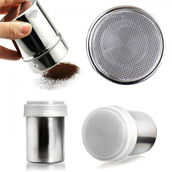 Stainless Steel Powder Shaker, Coffee Cocoa Dredger with Fine-Mesh Lid