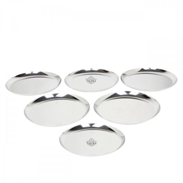 Stainless Steel Round Dinner Serving Plate For Home KItchen Ware