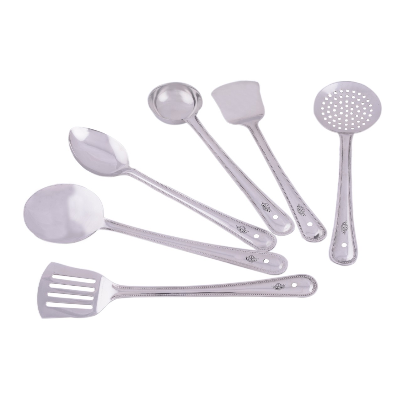 Stainless Steel Serving Cooking Kitchen Combo Set of 6 Different Spatula Ladle Spoons