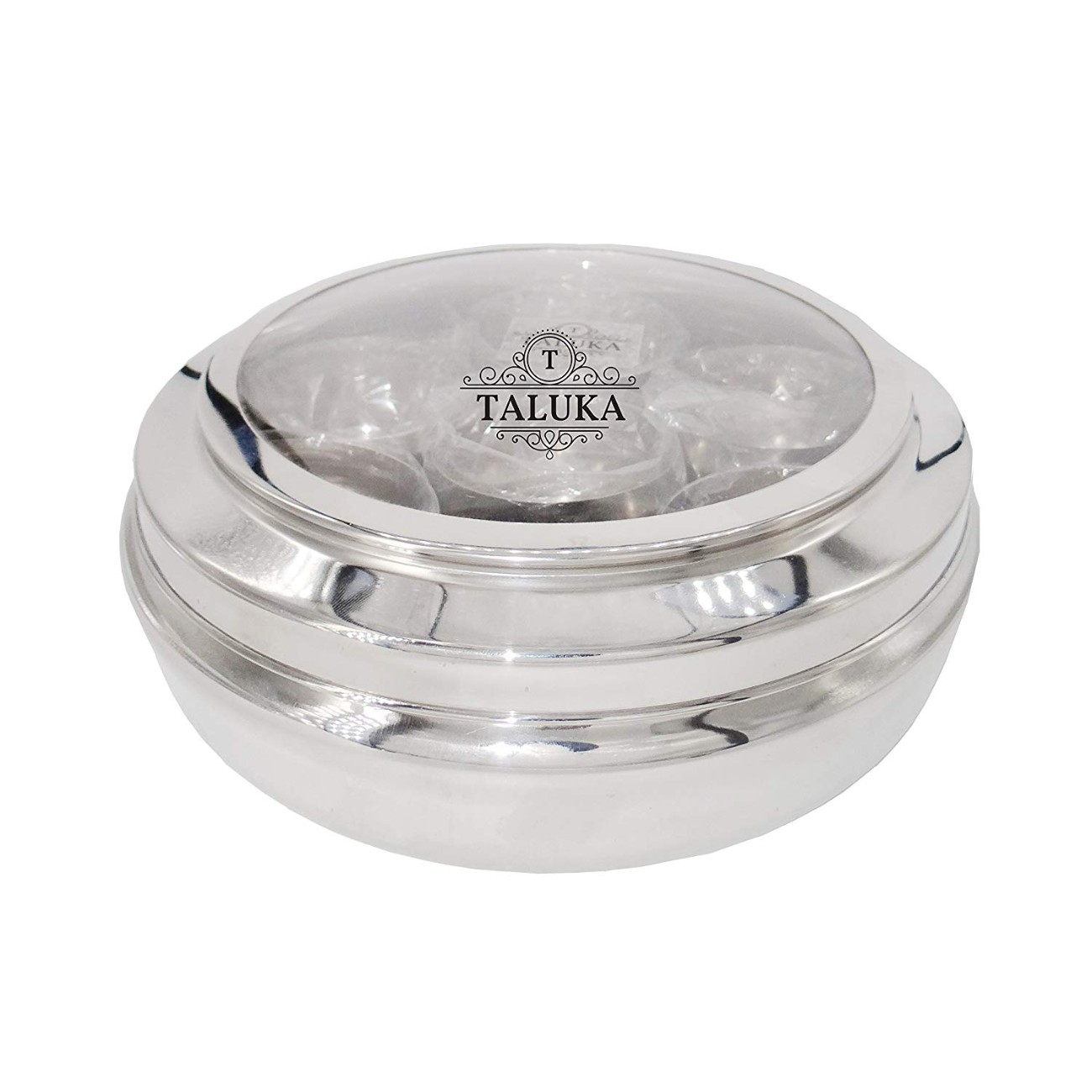 Stainless Steel Spice Box with Lid, 7 Containers and 1 Spoon