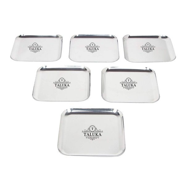 Stainless Steel Sqaure Dinner Serving Plate For Restaurant Hotel Home KItchen Ware