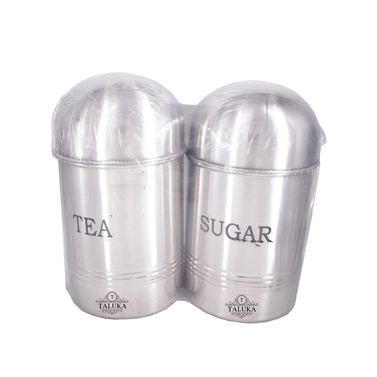 Stainless Steel Tea Sugar Canister 2 PC Set Kitchen Storage Jar Container
