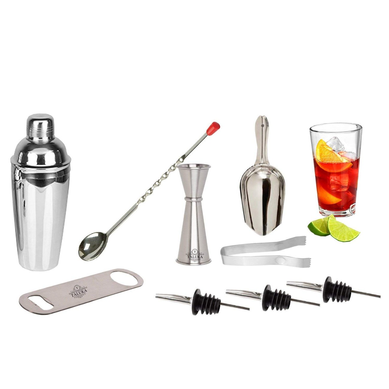 Stainless Steel Wine and Cocktail Bar Set 9 Piece Combination Bar Set
