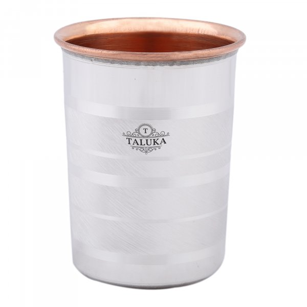 Steel Copper Luxury Glass Tumbler Drinking Water Health Benefits 300 ML