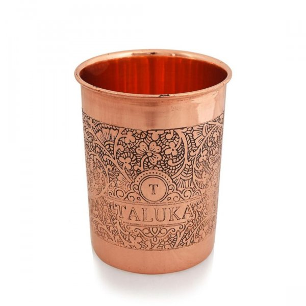 Copper Etching Embossed Tumbler Glass with Taluka Logo | Health Benefits Ayurveda Yoga | Table Serving Drinkware Hotel Home Restaurant