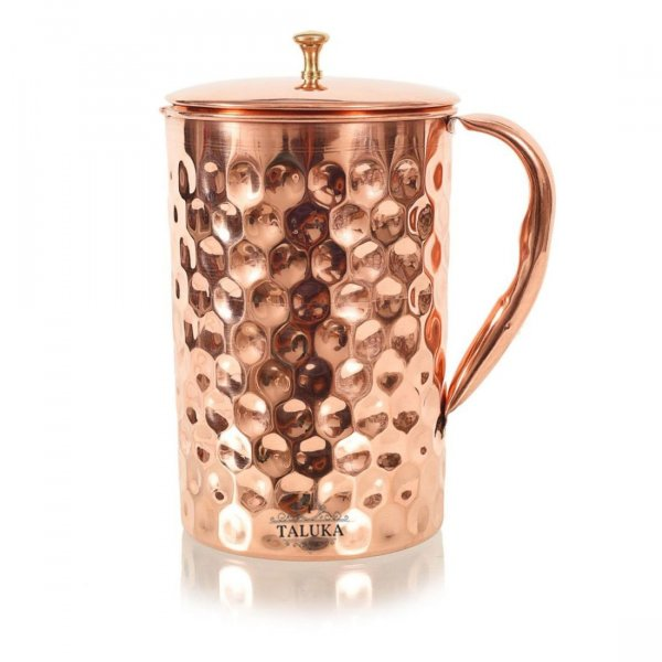 Copper Hammered Jug Pitcher 1500 ML Brass Knob Lid for Storage Drinking Purpose Diamond Design