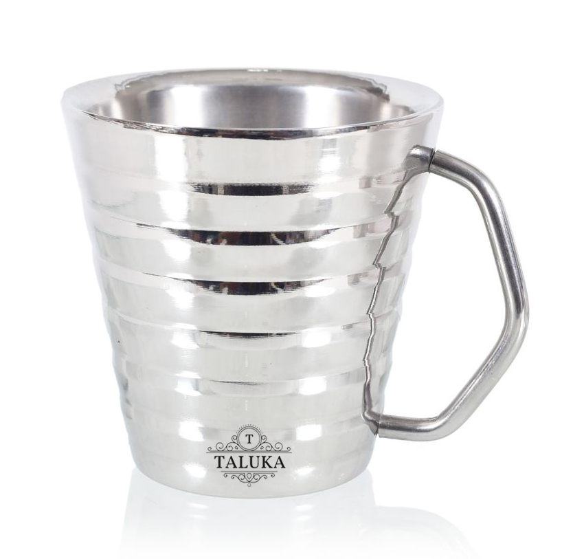 Stainless Steel Ribbed Conical Insulated Double Wall Coffee and Tea Mug | Cup | 200 ml Hotel Home Restaurant