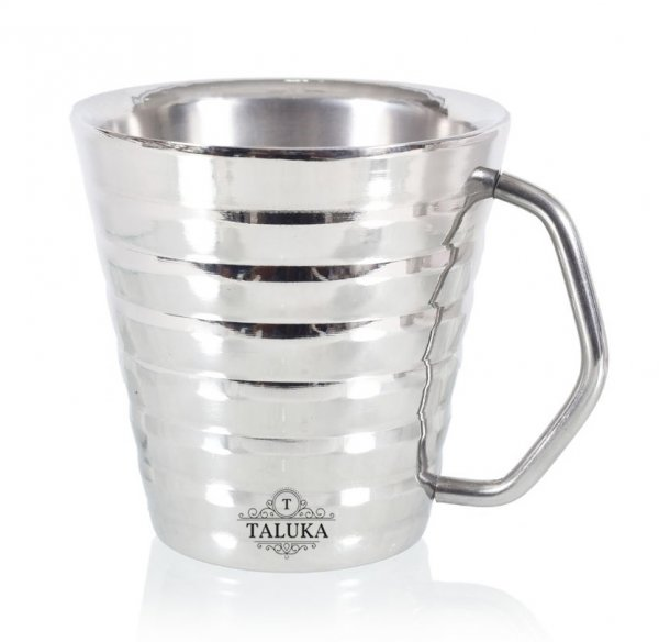 Stainless Steel Ribbed Conical Insulated Double Wall Coffee and Tea Mug | Cup | 300 ml Hotel Home Restaurant