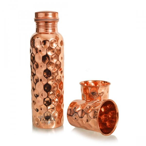 Copper Diamond Hammered Bottle 1000 ml with Glass 300 ml 2 Pcs Set Storage Serving Drinking Water Home Hotel Restaurant Tableware