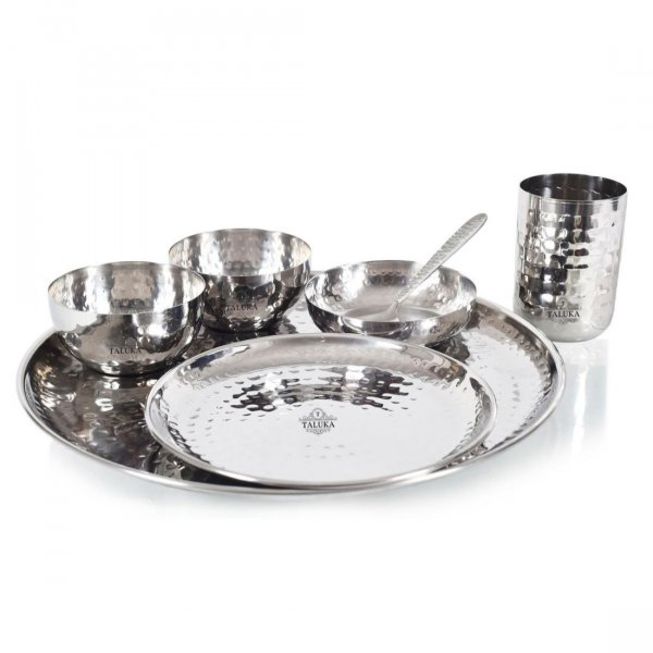 Stainless Steel Hammered Dinner Thali Set 7 PCS (2 Thali, 2 Bowls, 1 Halwa Thali, 1 Glass, 1 Spoon) Home Restaurant Hotel Serving Dinner Set